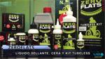 Presentación productos ZEROFLATS: líquido sellante, cera y kit tubeless